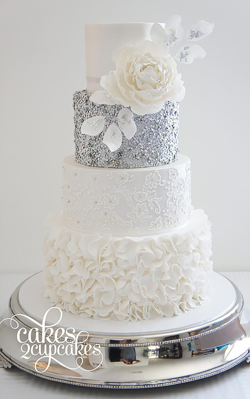silver and white wedding cake ideas silver wedding cake decorations wedding ideas by colour 19855