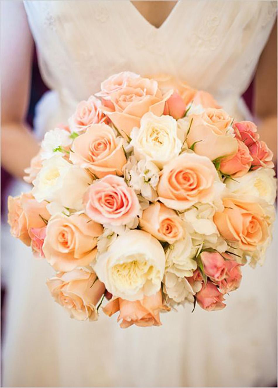 Свадебные букеты с персиковыми цветами