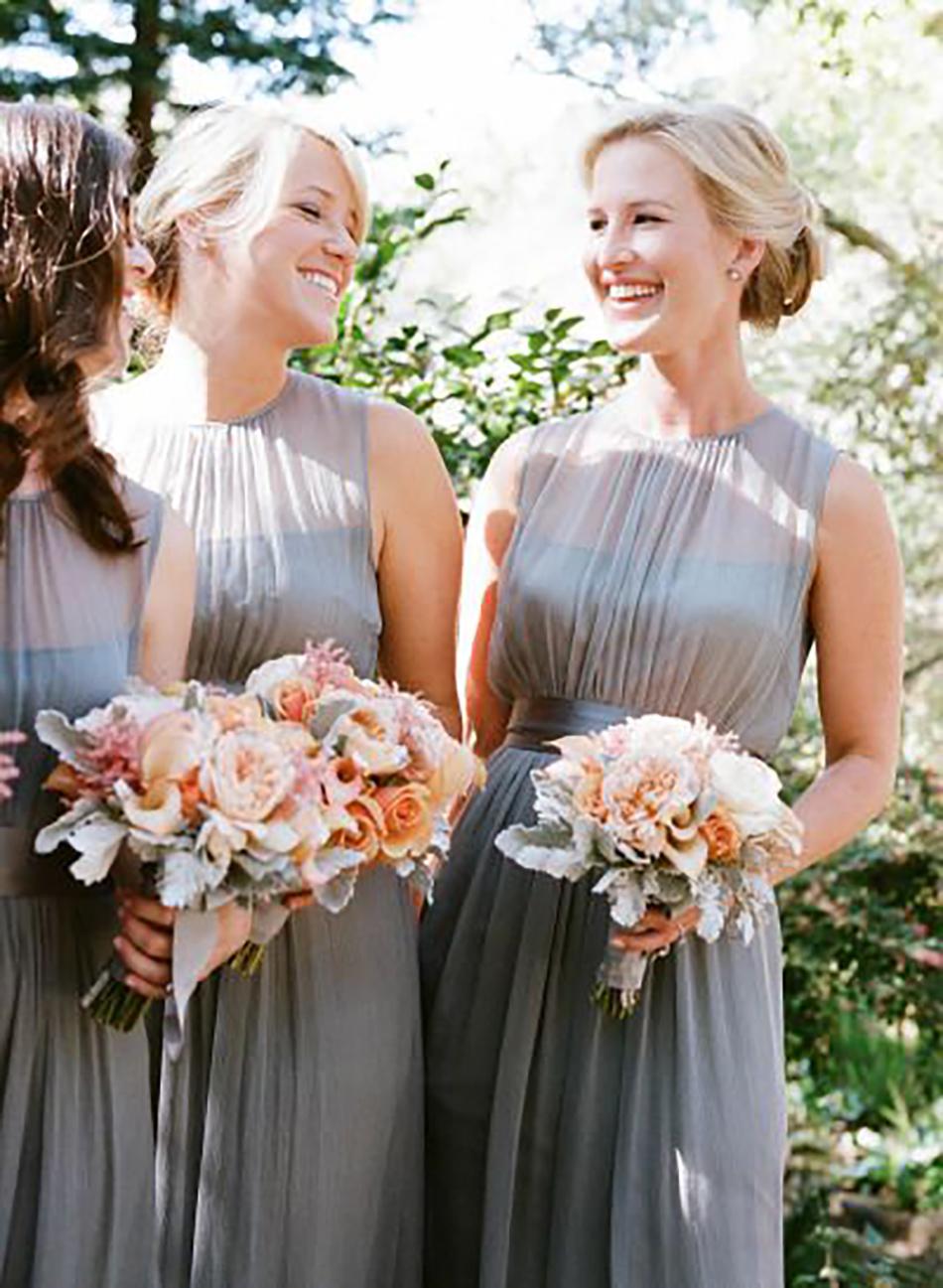 Wedding ideas by colour: metallic bridesmaid dresses