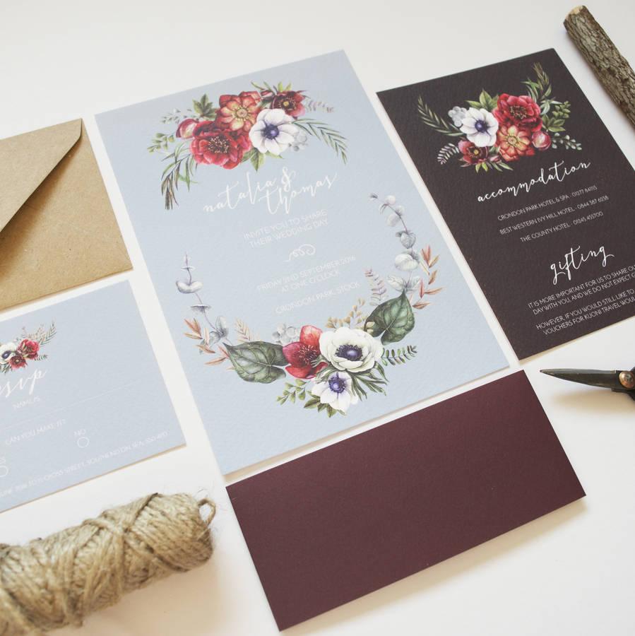 Wonderful winter wedding invitations chwv wonderful winter wedding invitations winter florals chwv junglespirit Images