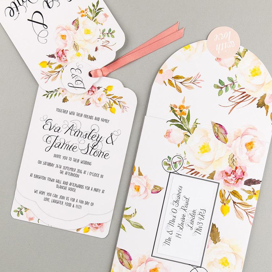 Wedding Ideas by Colour: Yellow Wedding Stationery - Floral affair | CHWV