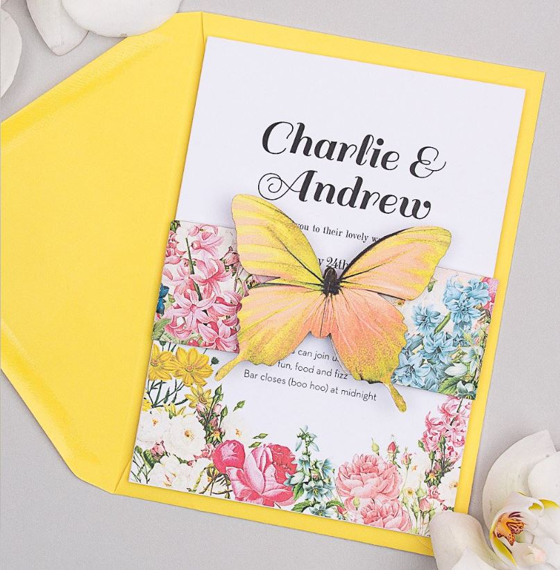 Wedding Ideas by Colour: Yellow Wedding Stationery - Butterfly | CHWV