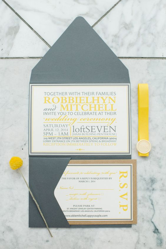 Wedding Ideas by Colour: Yellow Wedding Stationery - Sleek city style | CHWV