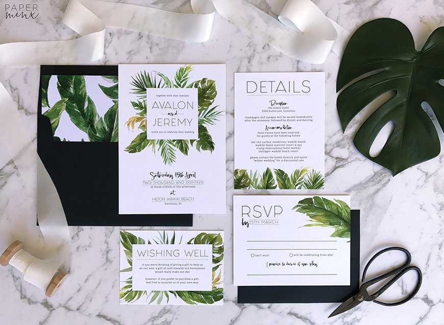 Wedding Ideas By Colour: Black and White Wedding Invitations - Contemporary glamour | CHWV