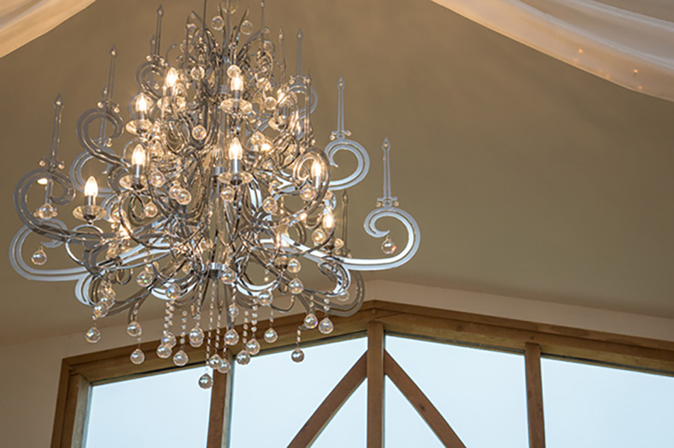 Bling up your barn wedding venue with Chandeliers