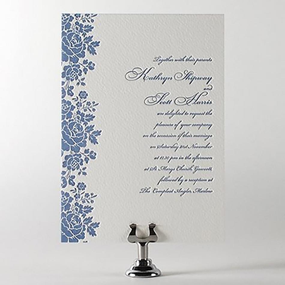 Wedding ideas by colour: Blue wedding invitations - Letterpress | CHWV