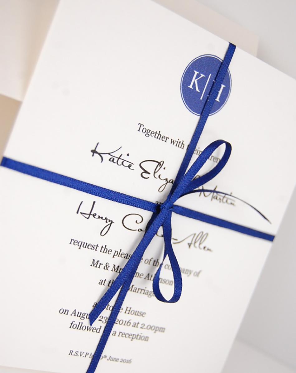 Wedding ideas by colour: Blue wedding invitations - Monogram | CHWV