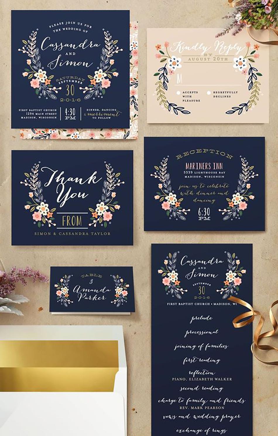 Wedding ideas by colour: Blue wedding invitations - Wildflower crest | CHWV