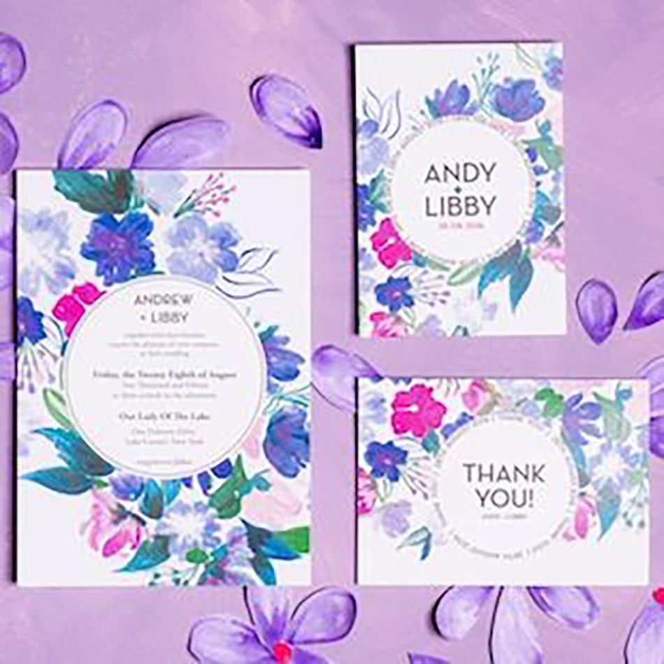 Wedding ideas by colour: Blue wedding invitations - Wildflowers | CHWV