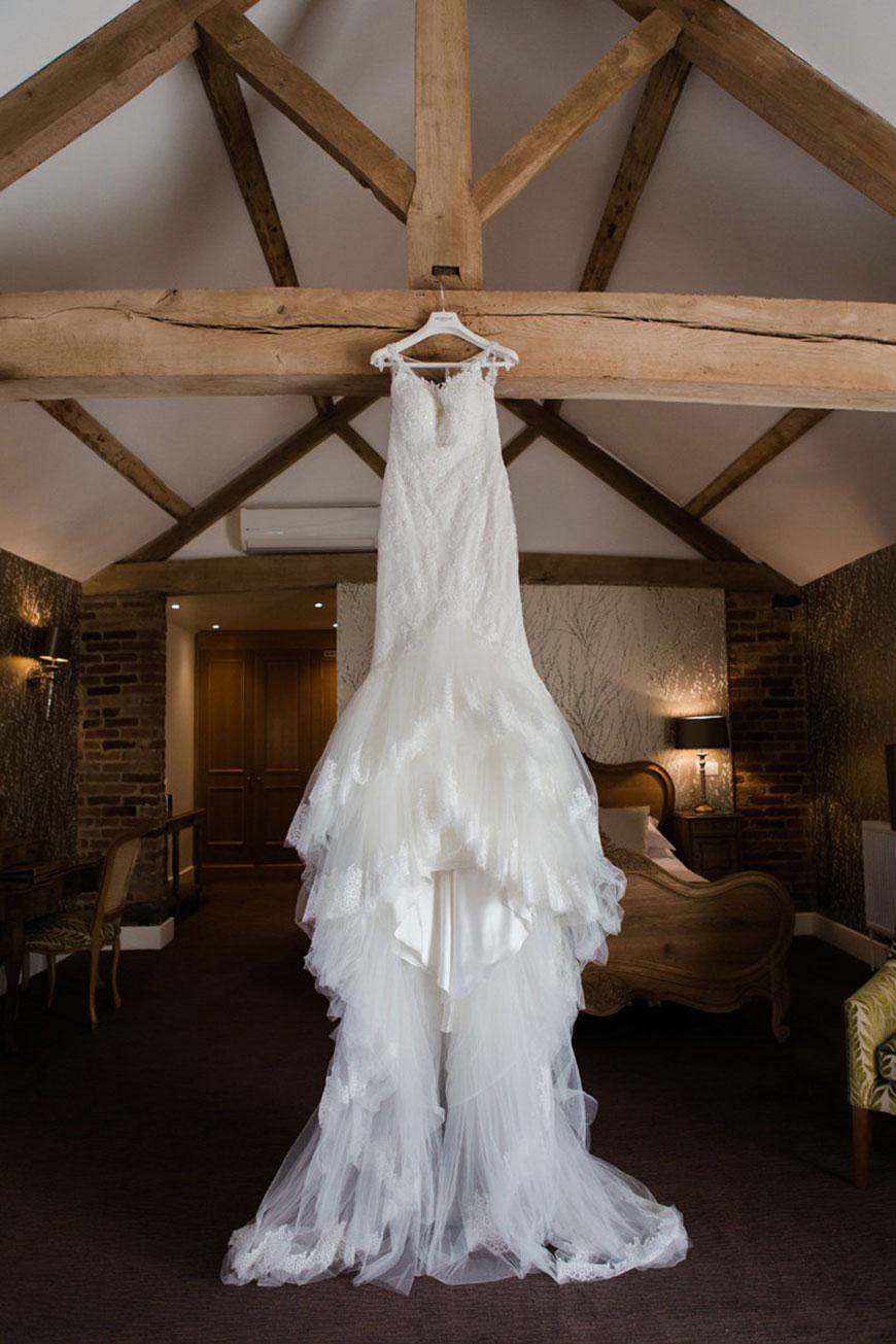 Emma and Danny at Mythe Barn - Wedding dress | CHWV