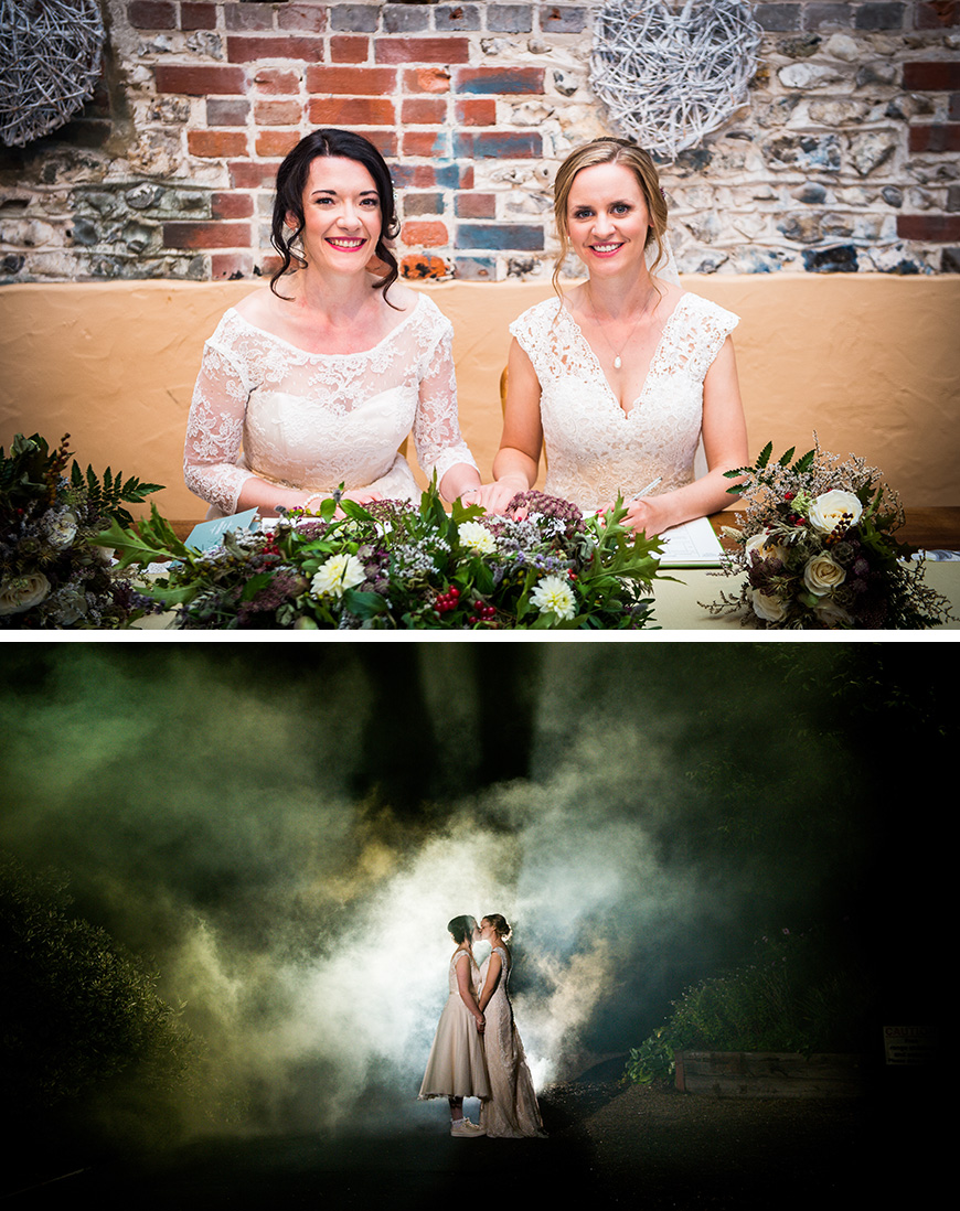 Real Wedding - Lucy and Emma's Relaxed Vintage Wedding at Upwaltham Barns | CHWV