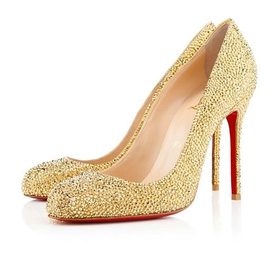Wedding ideas by colour: gold wedding shoes