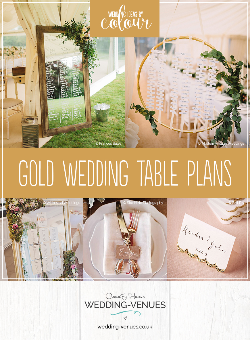 Wedding Ideas By Colour: Gold Wedding Table Plans | CHWV
