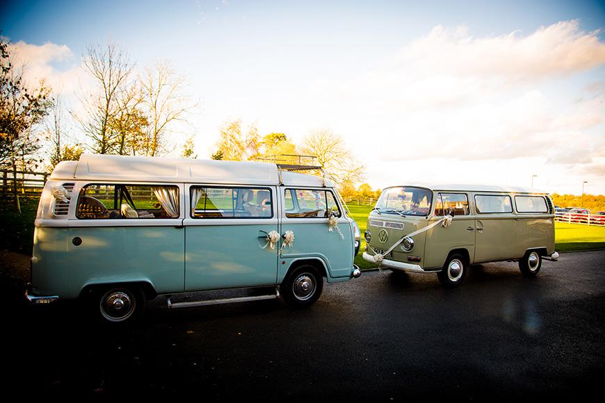 Hannah and Gareth's real life wedding at Mythe Barn - Campervans | CHWV