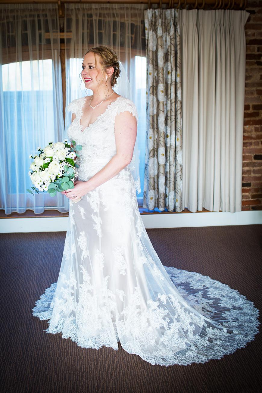 Hannah and Gareth's real life wedding at Mythe Barn - Hannah's dress | CHWV