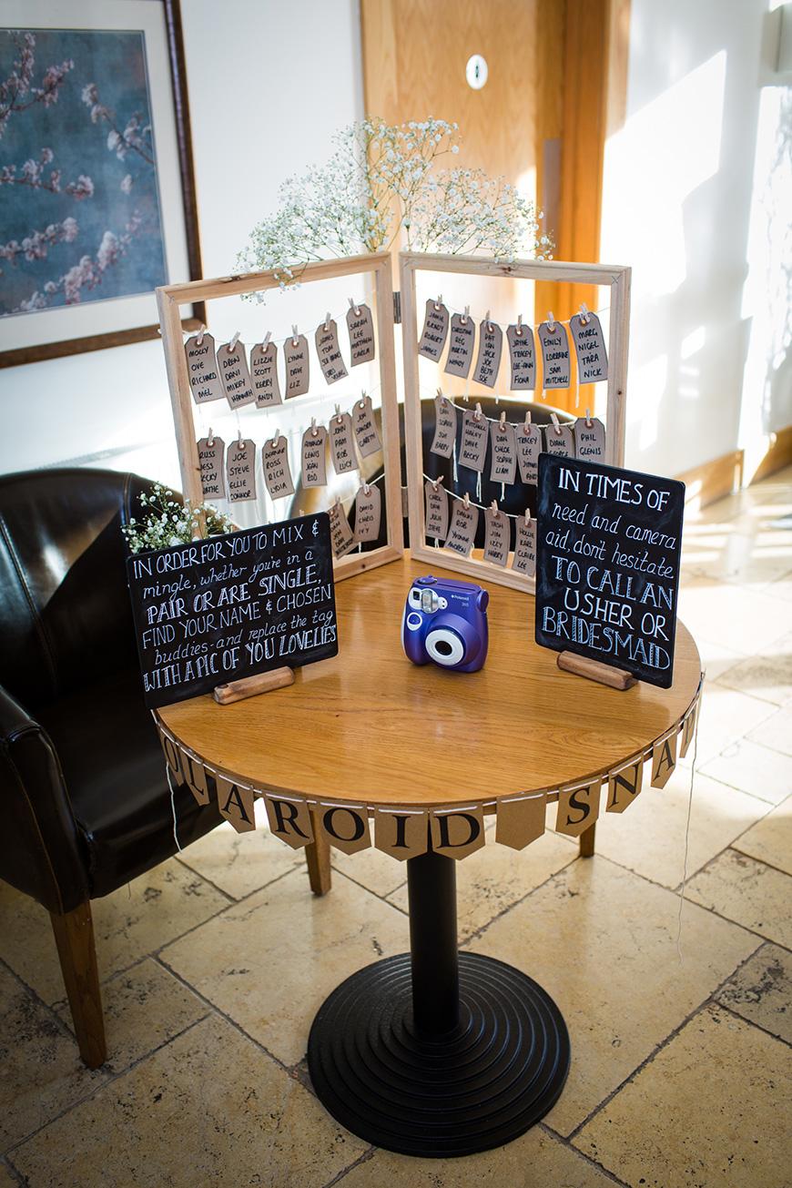 Hannah and Gareth's real life wedding at Mythe Barn - Polaroid stand | CHWV