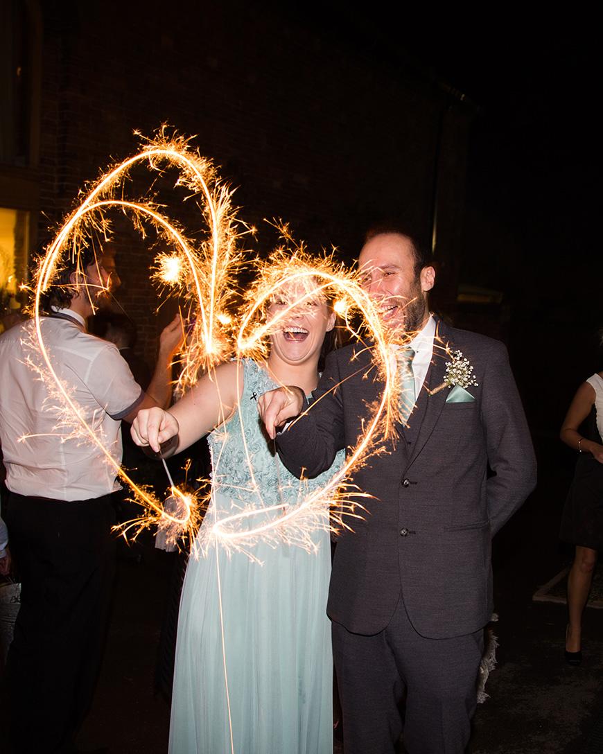 Hannah and Gareth's real life wedding at Mythe Barn - Sparklers | CHWV