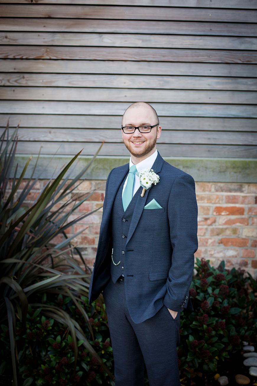 Hannah and Gareth's real life wedding at Mythe Barn - Gareth's suit | CHWV