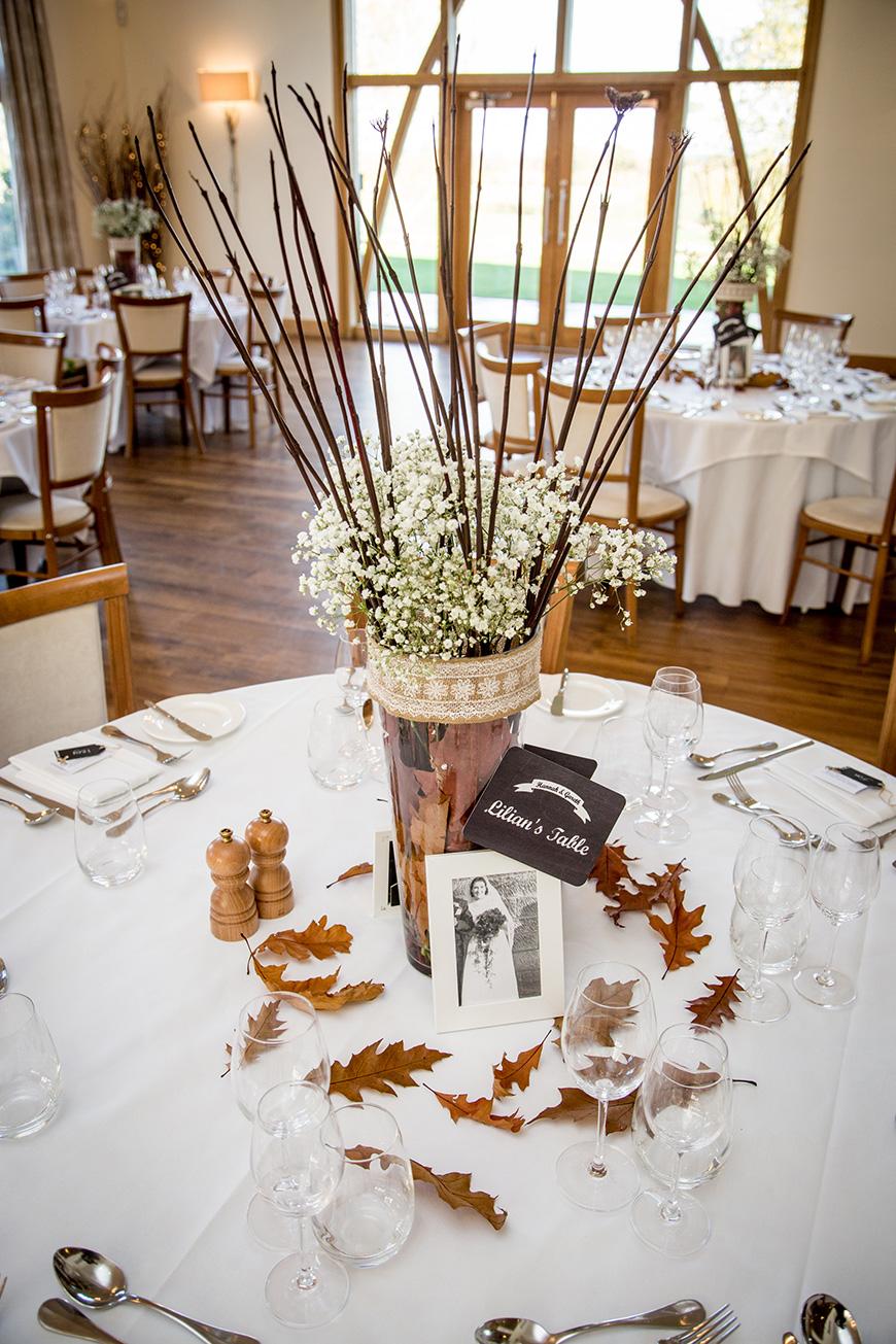 Hannah and Gareth's real life wedding at Mythe Barn - Table decorations | CHWV
