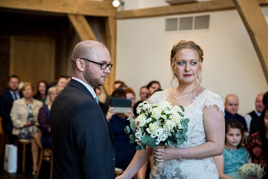 Hannah and Gareth's real life wedding at Mythe Barn - Vows | CHWV