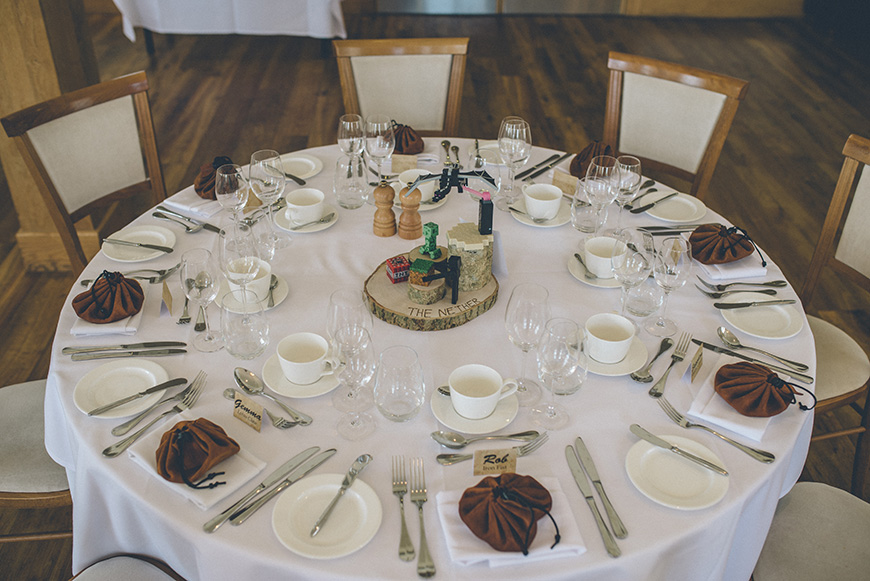 Real Wedding - Hazel and Chris' DIY Barn Wedding at Mythe Barn - Table decorations | CHWV