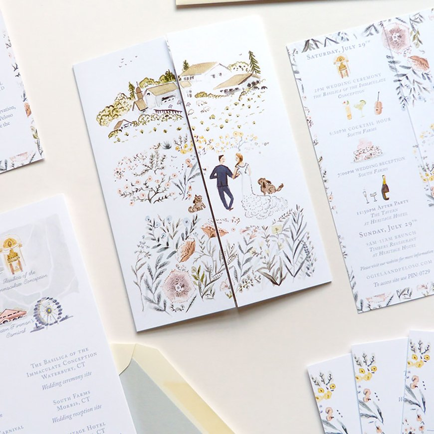 Illustrated Wedding Invitations For A Personal Touch | CHWV