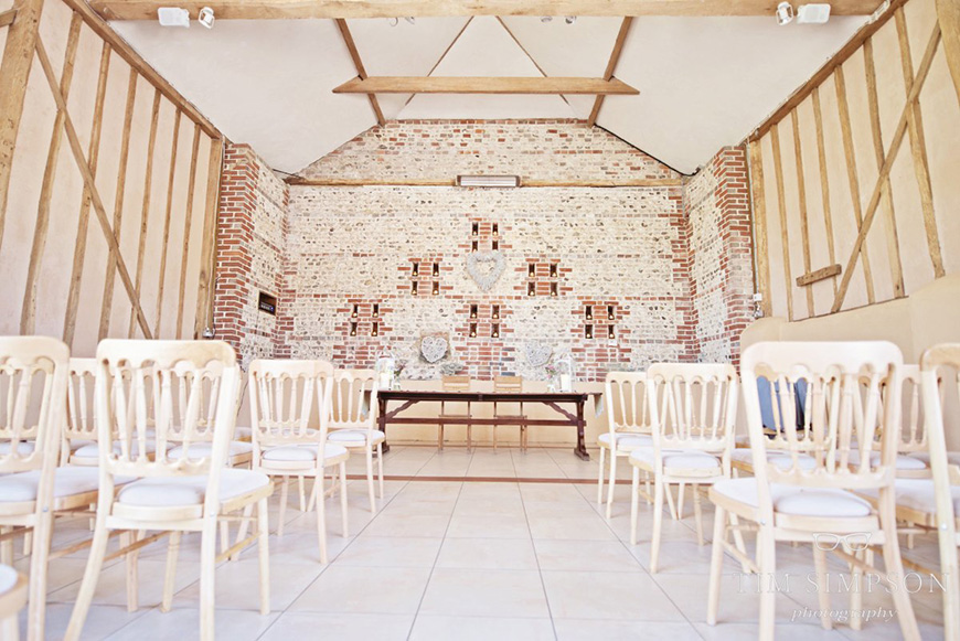 Lisa and Mark's real life wedding at Upwaltham Barns - Set up for the ceremony | CHWV