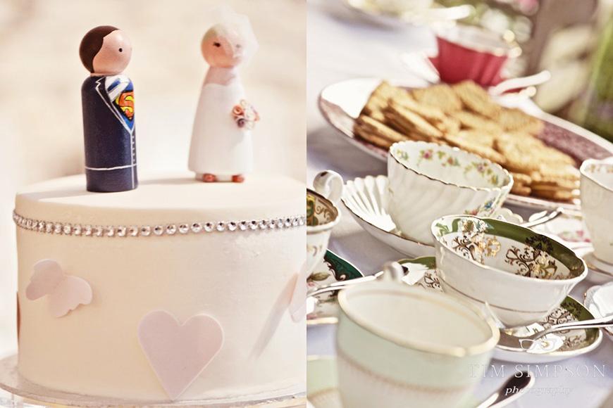 Lisa and Mark's real life wedding at Upwaltham Barns - Cake and Vintage cups | CHWV