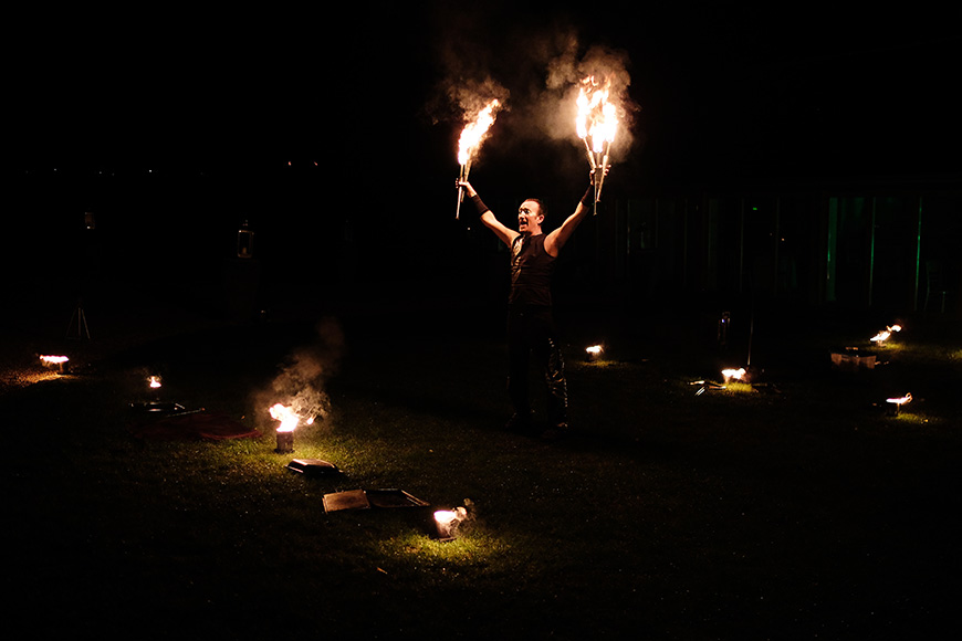 Real Wedding - A Shabby-Chic Style Wedding at Reading's Wasing Park - Fire dancer | CHWV