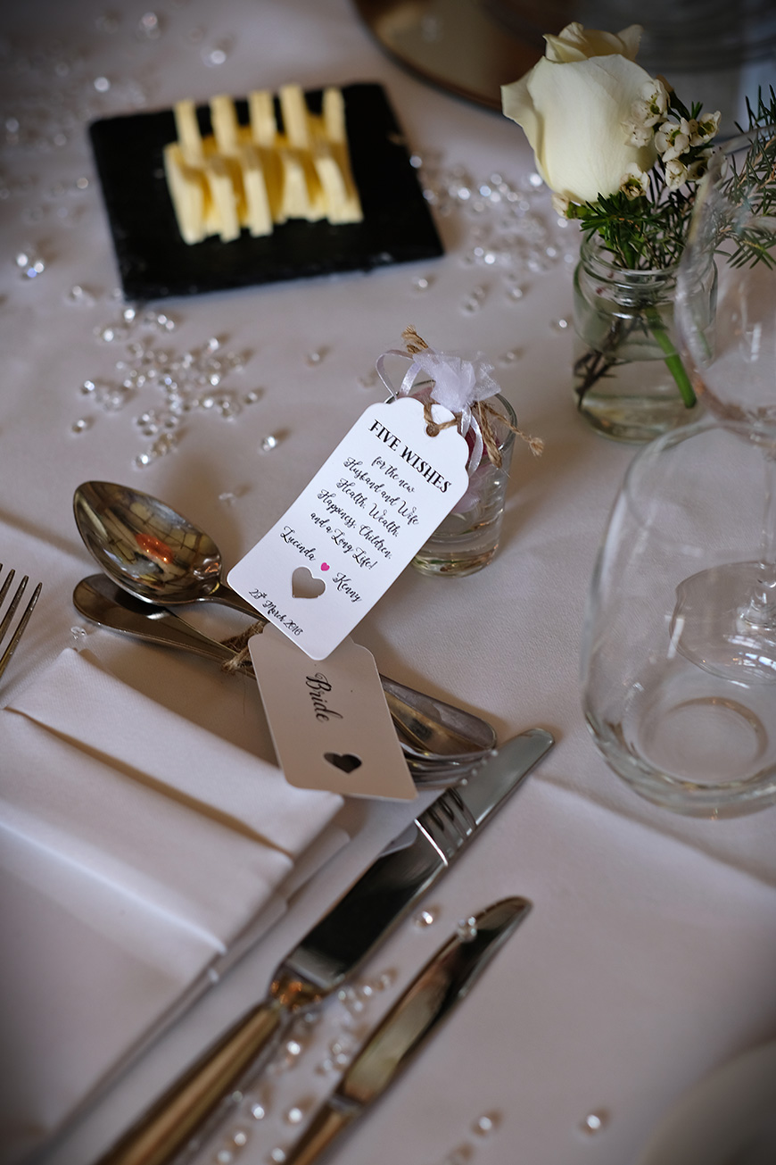 Real Wedding - A Shabby-Chic Style Wedding at Reading's Wasing Park - Table decorations   CHWV