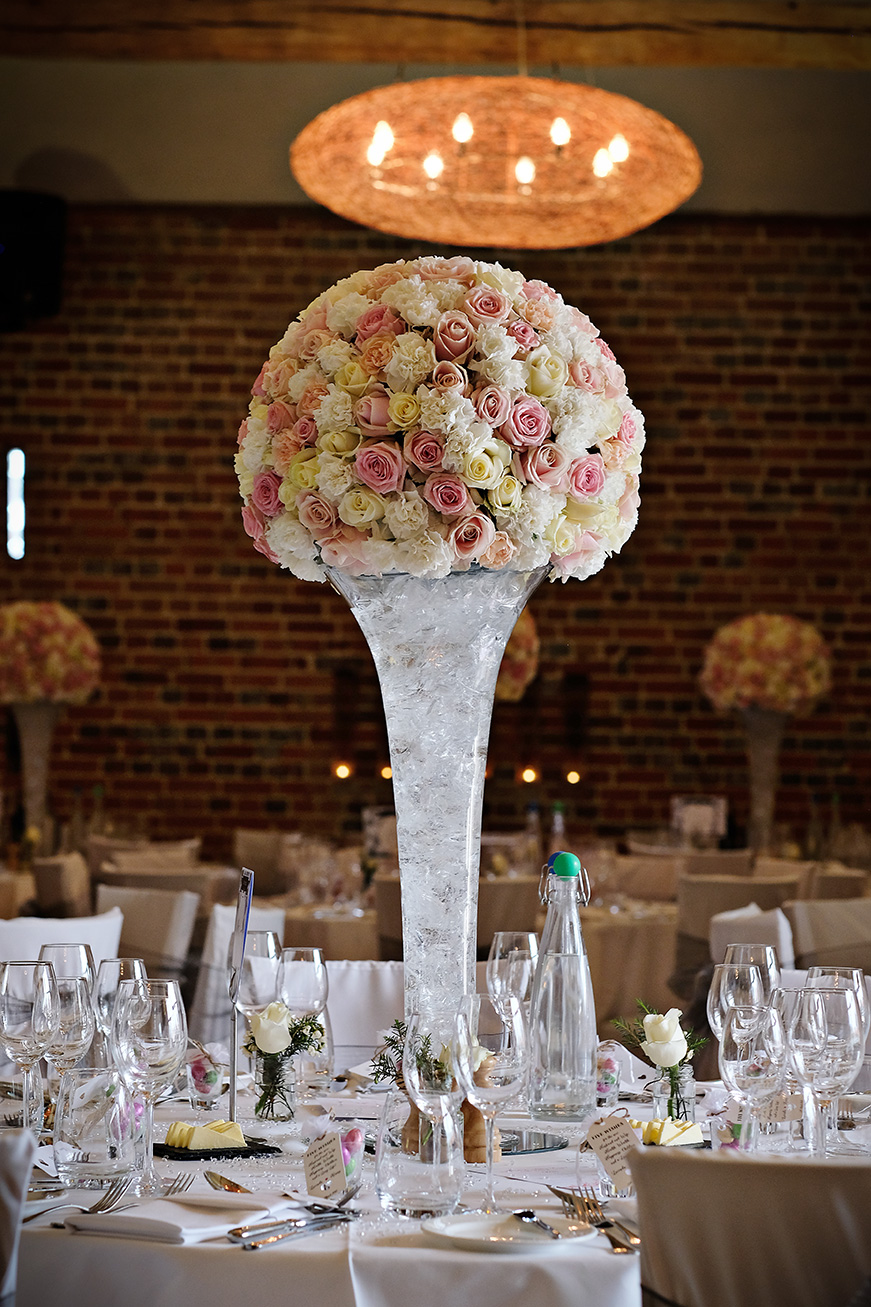 Real Wedding - A Shabby-Chic Style Wedding at Reading's Wasing Park - Table flowers   CHWV
