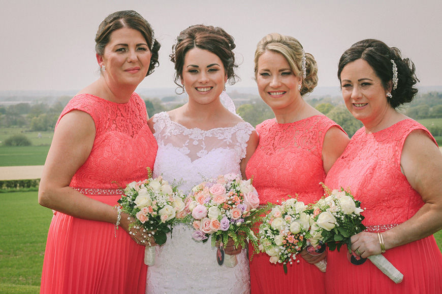 A Bright and Beautiful Coral Themed Wedding in Lancashire - Bridesmaids   CHWV