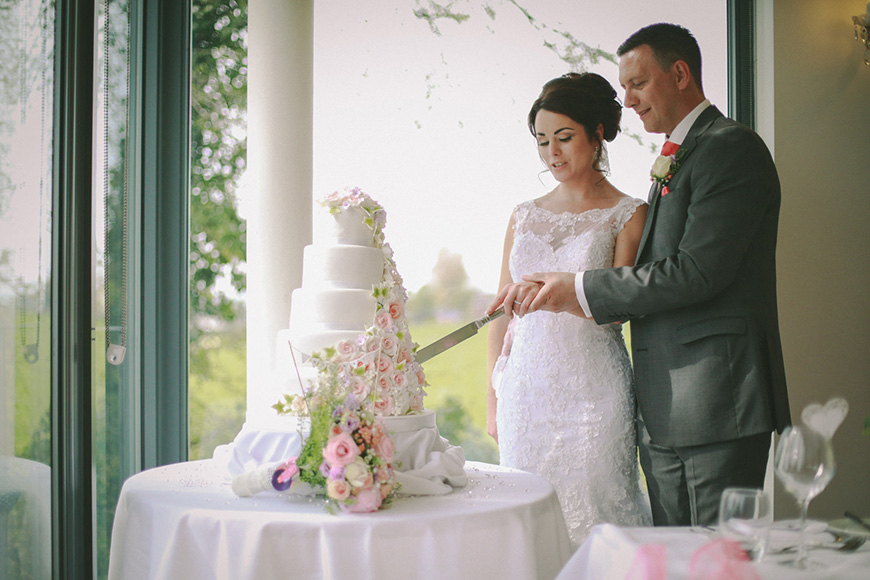 A Bright and Beautiful Coral Themed Wedding in Lancashire - Wedding cake   CHWV