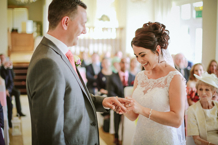 A Bright and Beautiful Coral Themed Wedding in Lancashire - Ceremony   CHWV