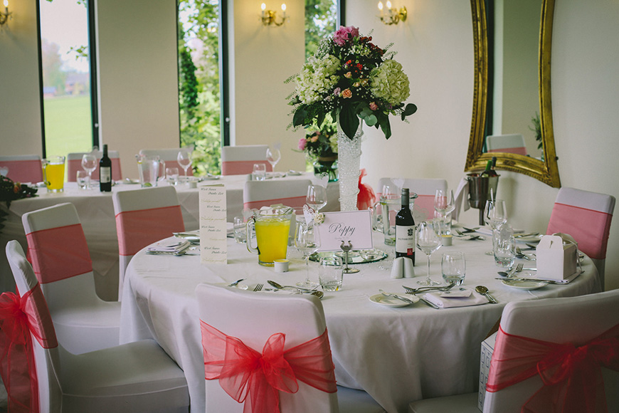 A Bright and Beautiful Coral Themed Wedding in Lancashire - Chair sashes   CHWV