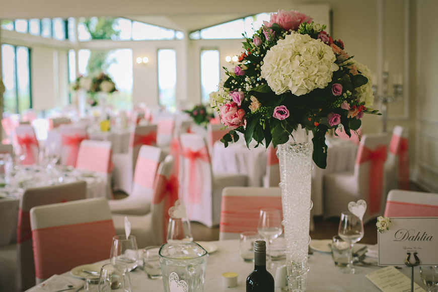 A Bright and Beautiful Coral Themed Wedding in Lancashire - Table centrepiece   CHWV
