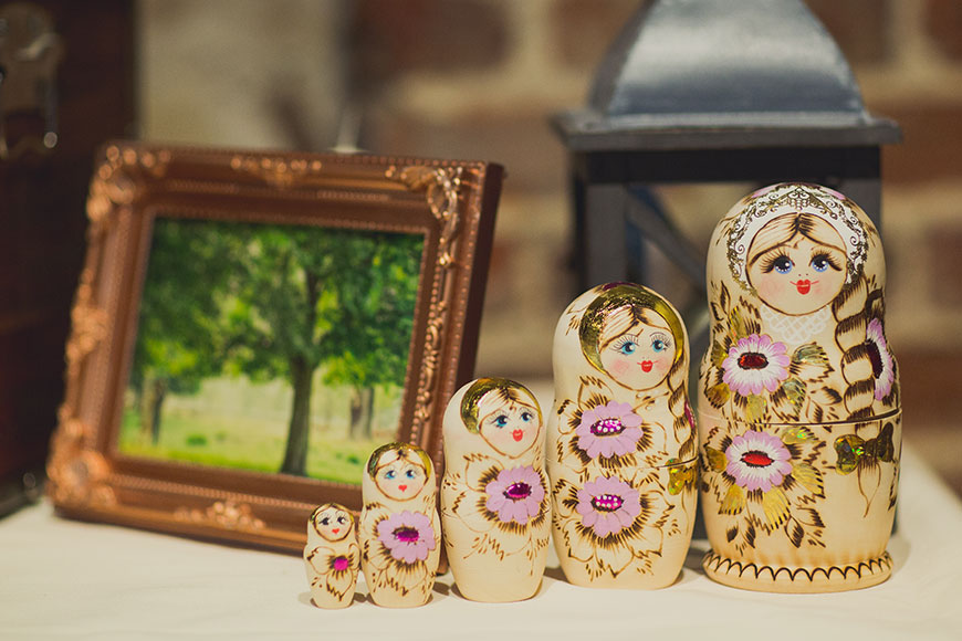 Maria and Chris' real life wedding at Gaynes Park - Russian dolls | CHWV