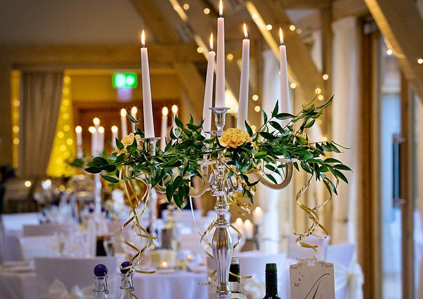 Lynn and Mark's Bright and Beautiful Yellow Wedding - Table centrepiece | CHWV