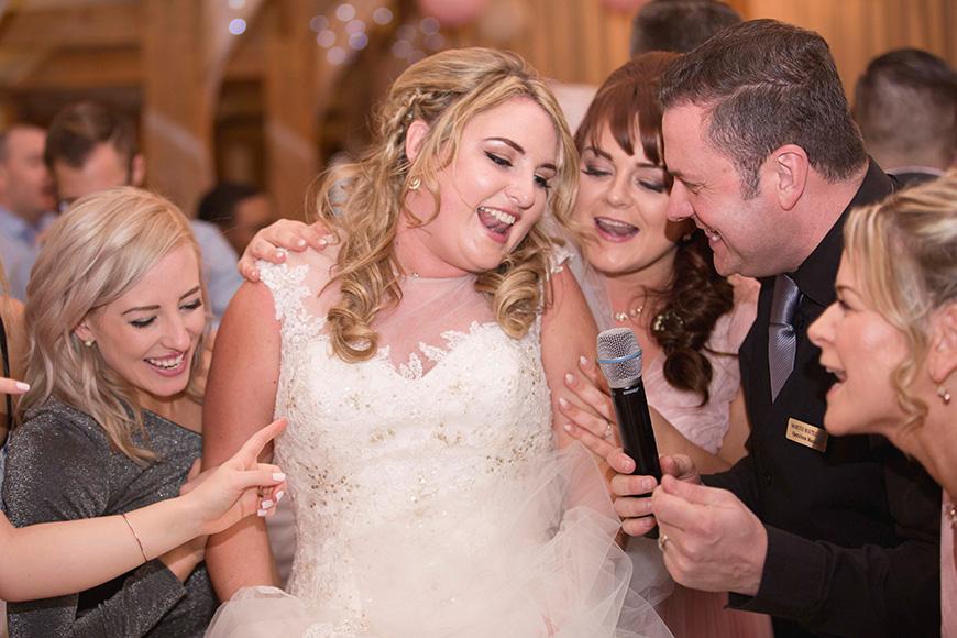 Micaela and Garry's Lively Wedding at Sandhole Oak Barn - Singing Waitors | CHWV