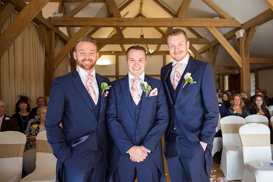 Micaela and Garry's Lively Wedding at Sandhole Oak Barn - Suits | CHWV