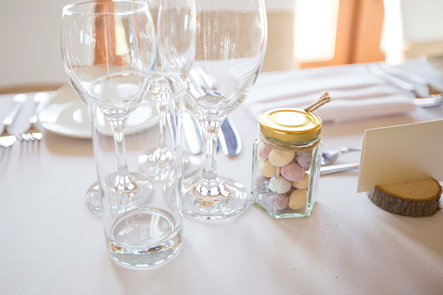 Micaela and Garry's Lively Wedding at Sandhole Oak Barn - Table decorations | CHWV