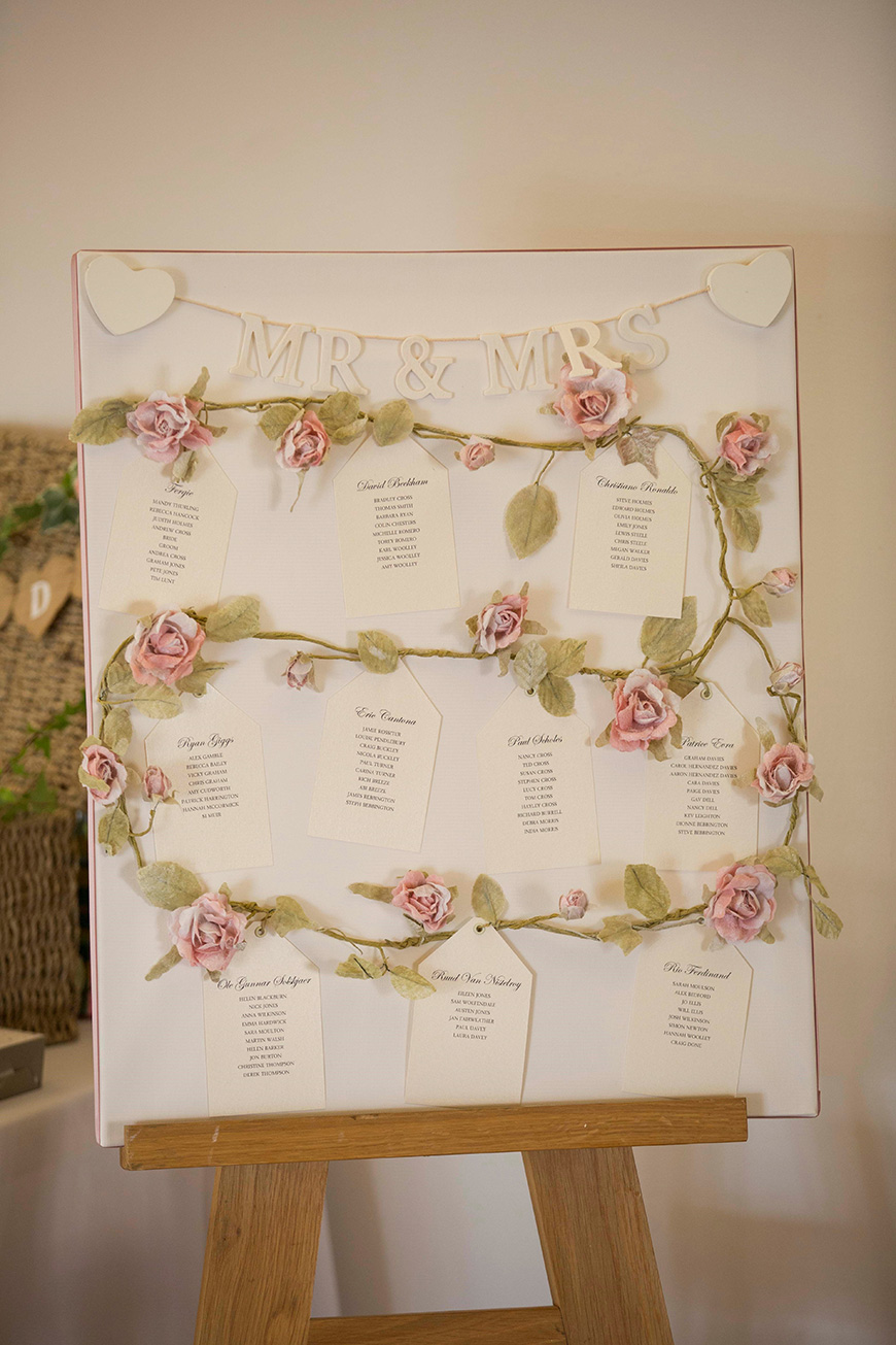Micaela and Garry's Lively Wedding at Sandhole Oak Barn - Table plan | CHWV