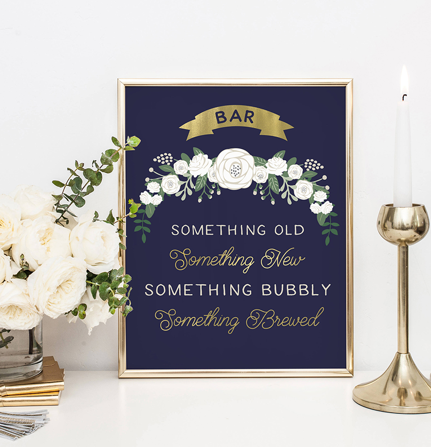 Wedding Ideas By Colour: Navy and Gold Wedding Theme - Sign | CHWV