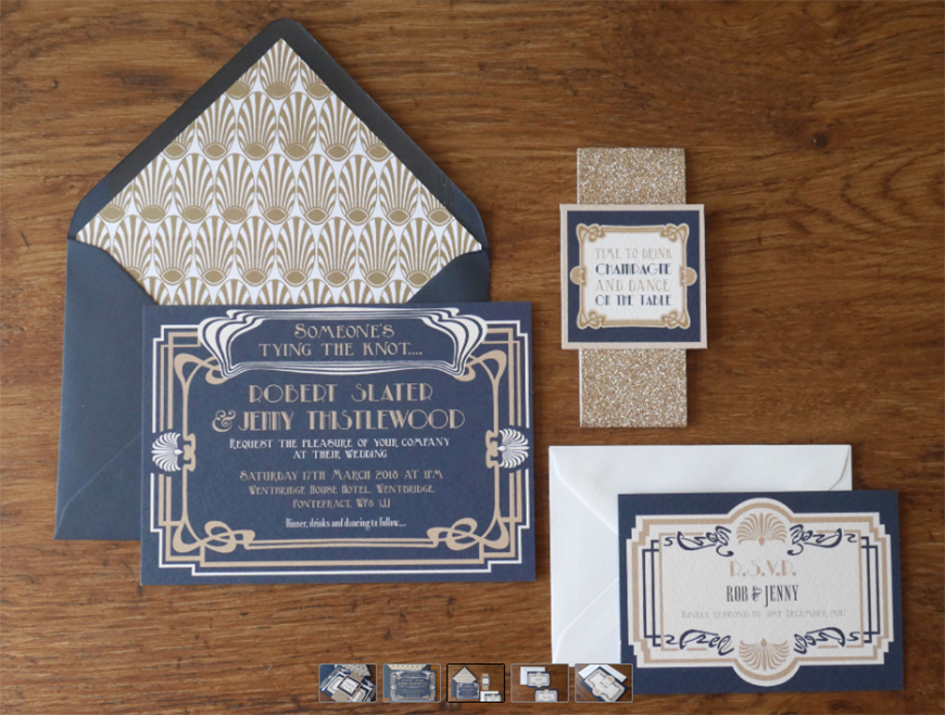 Wedding Ideas By Colour: Navy and Gold Wedding Theme - Invitations | CHWV