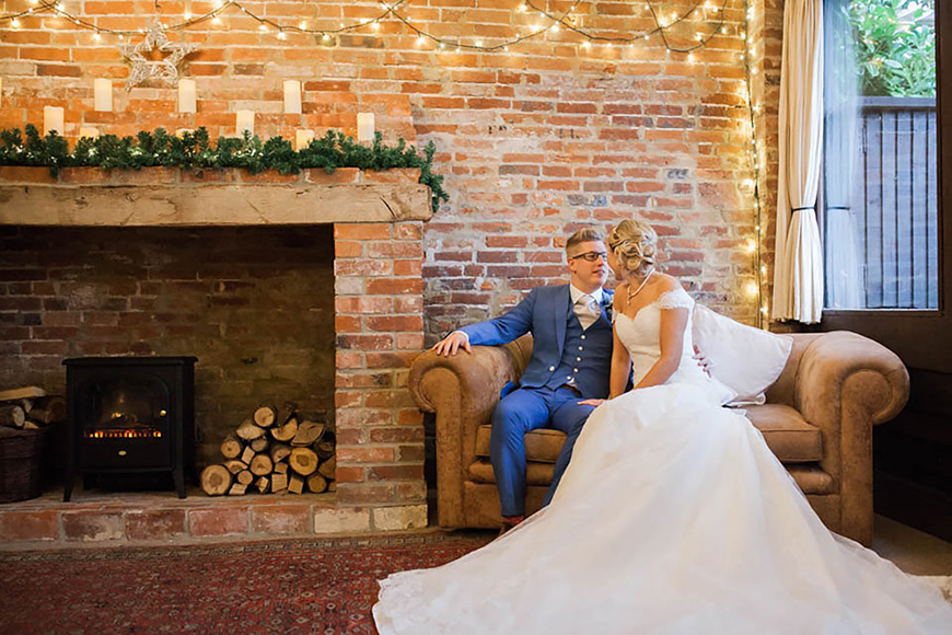 A Romantic Countryside Wedding at Clock Barn - Fireplace | CHWV
