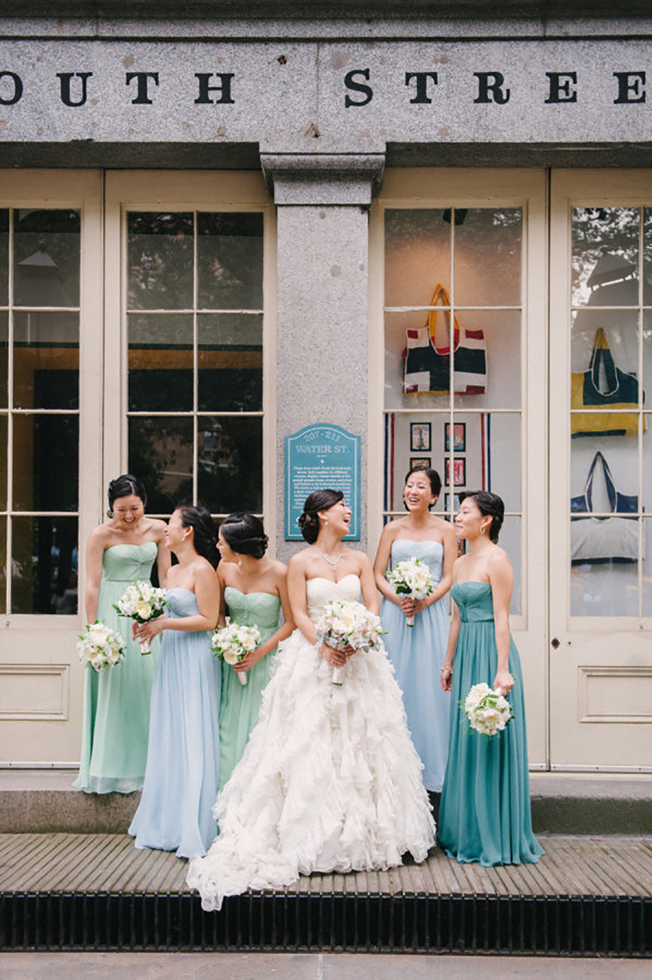 Wedding ideas by colour: pastel blue bridesmaid dresses