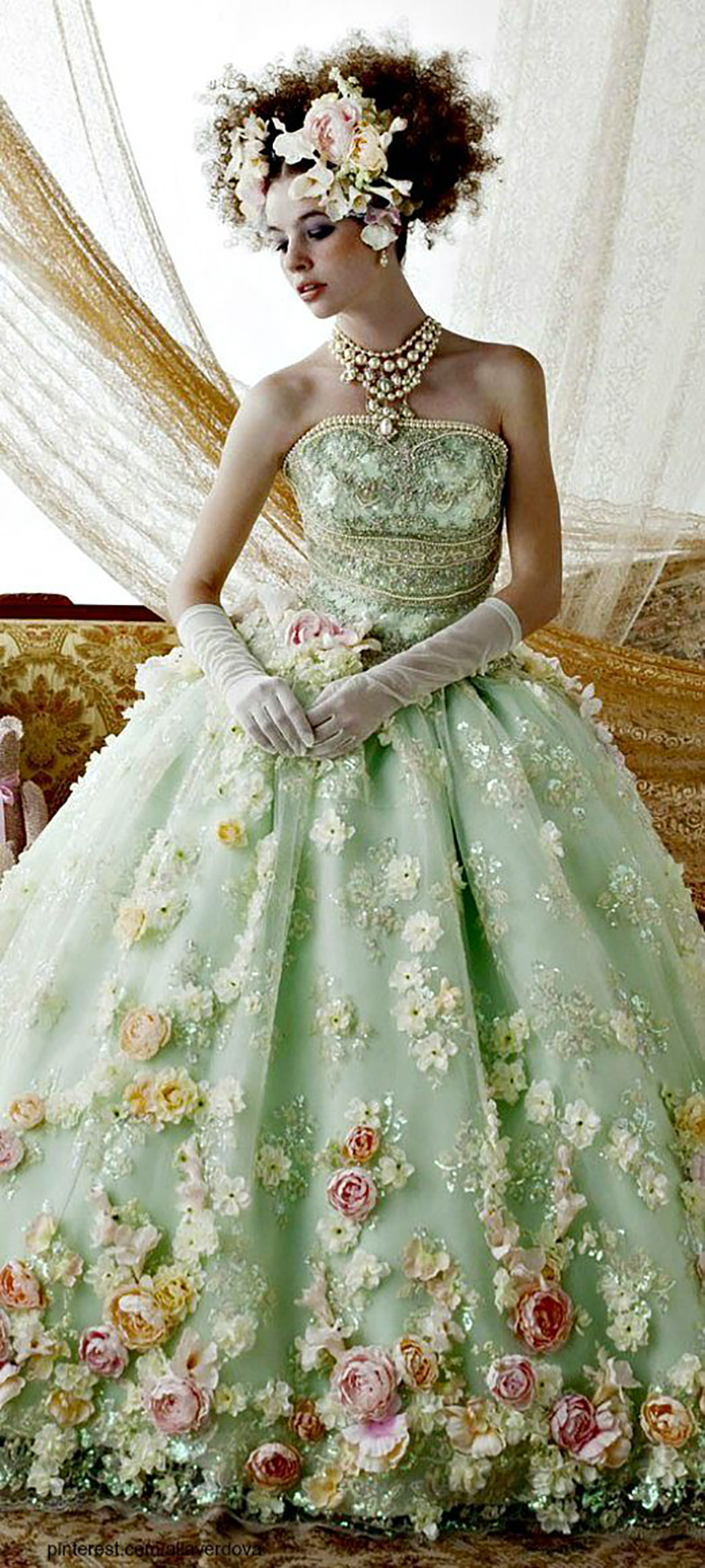 Bridal Gowns With Flowers : Green wedding dresses chwv