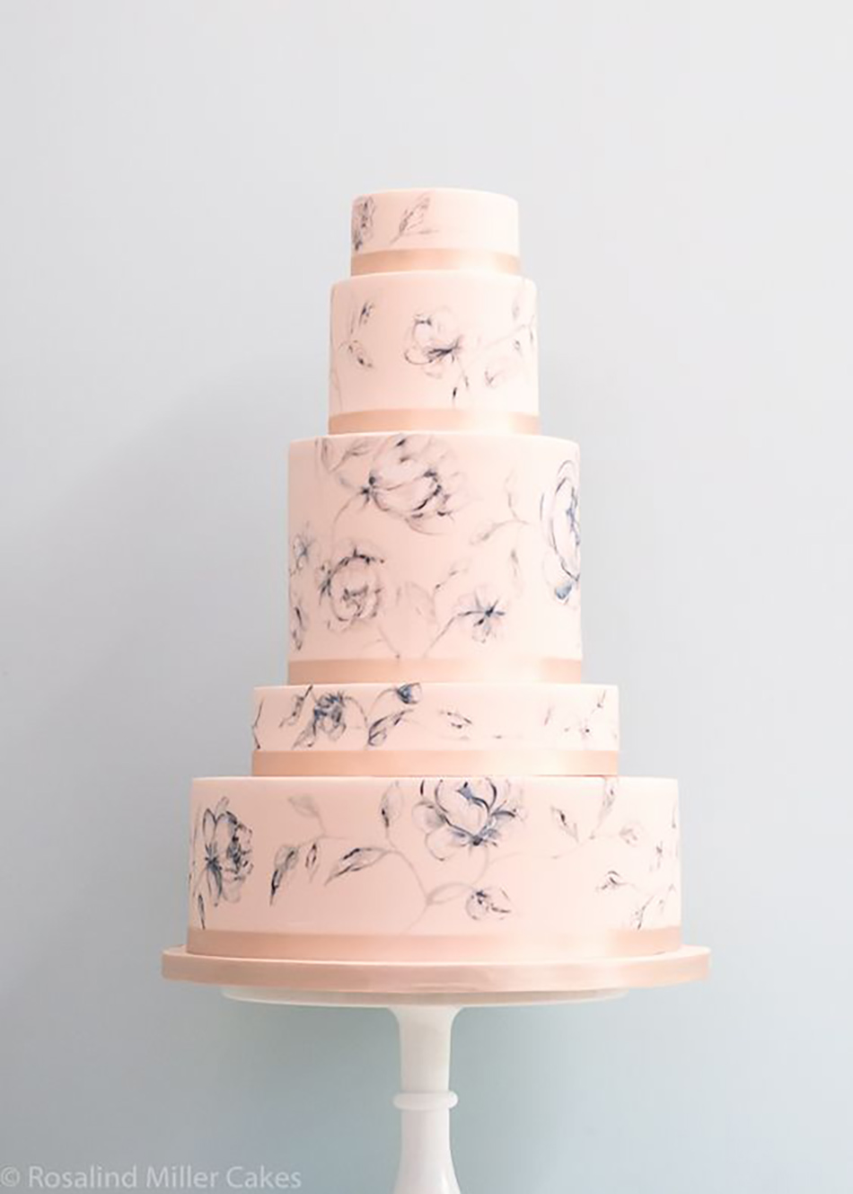 Wedding ideas by colour: pastel pink wedding cakes - Handpainted | CHWV