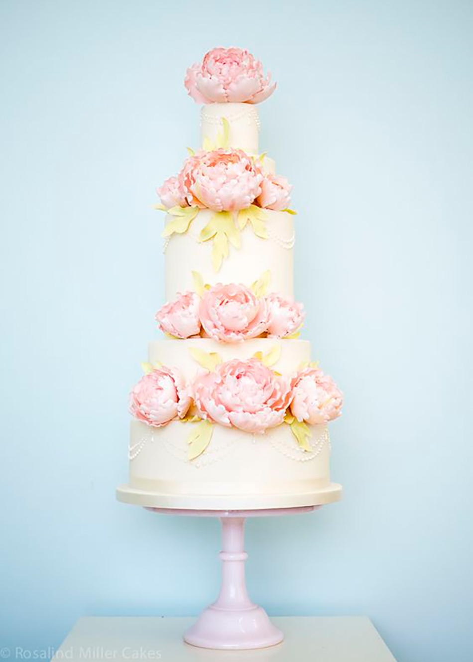 Wedding ideas by colour: pastel pink wedding cakes - Peony | CHWV