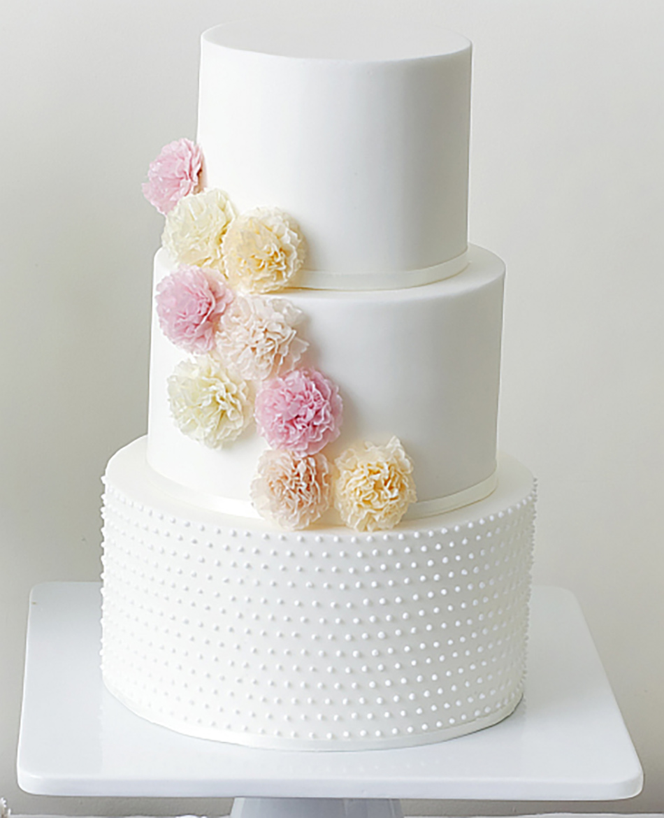 Wedding ideas by colour: pastel pink wedding cakes - Pom poms | CHWV